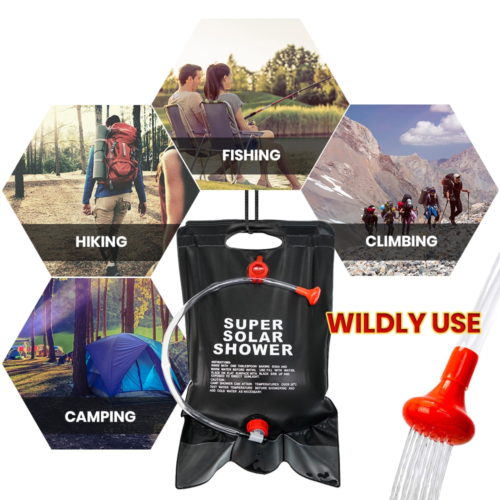 Shower Bag for Camping 5 Gallon/20L Solar Portable Bag with switch Hose and Shower Head for Outdoor Hiking Picnic Swimming