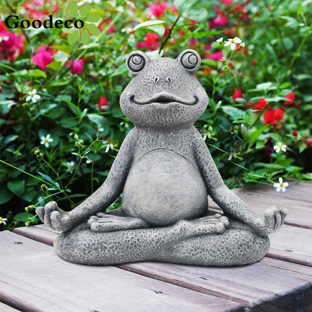Goodeco MINI Yoga Frog Statue Garden Decoration Accessories Meditating Frog Miniature Figurine Zen Frog Home Jardin Yard Decal