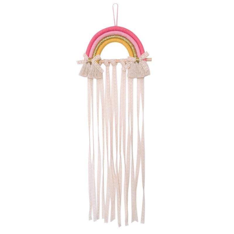 Rainbow Wall Hanging Decor Hair Bows Storage Belt For Girls Hair Clips Barrette Hairband Organizer Strip Holder Ornament