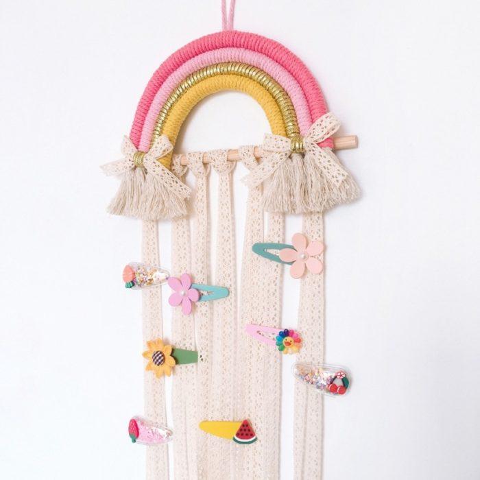 Hair Clip Organizer Rainbow Wall Hanging Decor