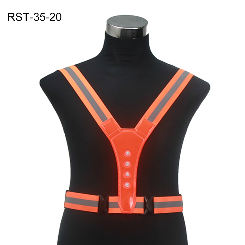 LED Cycling Vest High Visibility Outdoor Running Cycling Reflective Safety Vest Adjustable Elastic Strap