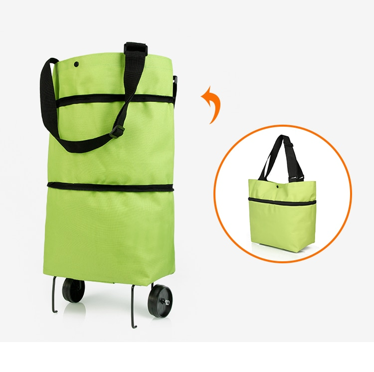 Folding Shopping Pull Cart Trolley Bag With Wheels Foldable Shopping Bags Reusable Grocery Bags Food Organizer Vegetables Bag