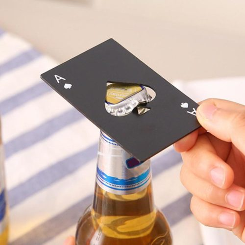 Card Bottle Opener Metal Pocket Spade