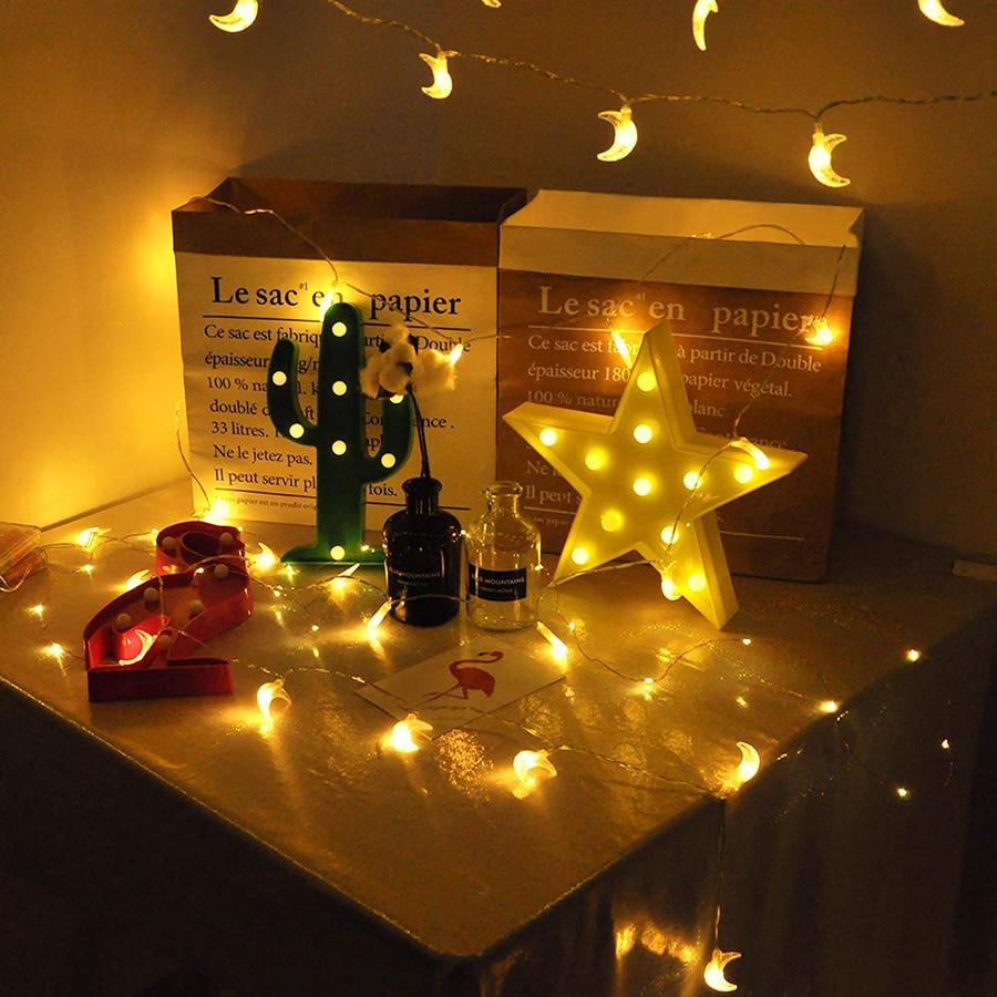 1.5M/3M/6M Moon shape LED String lights Holiday lighting Fairy Garland For Christmas Tree Wedding Party Ramadan Decoration