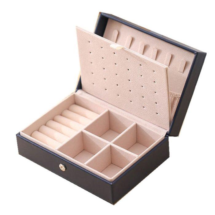Leather Travel Jewellery Box Jewelry Case