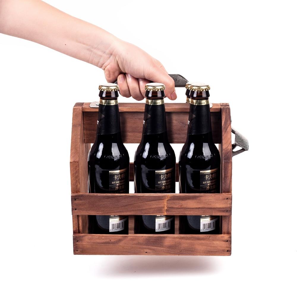 Mealivos Wooden Bottle Caddy, 6-Pack Beer Carrier with Built-In Metal Bottle Opener