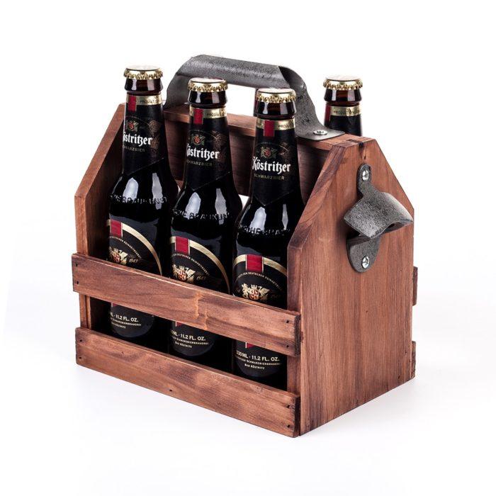 Wooden Beer Carrier with Bottle Opener