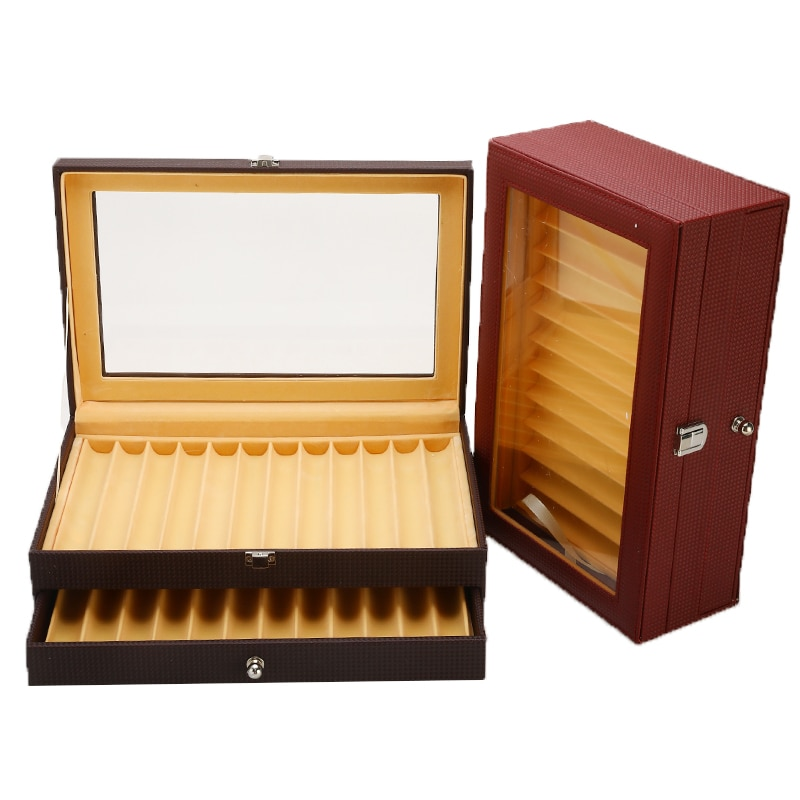 Portable PU Leather Pen Case Storage 24 Pens Fountain Pen Display Case Holder Collector Organizer Box Slot 4 Colors for choose