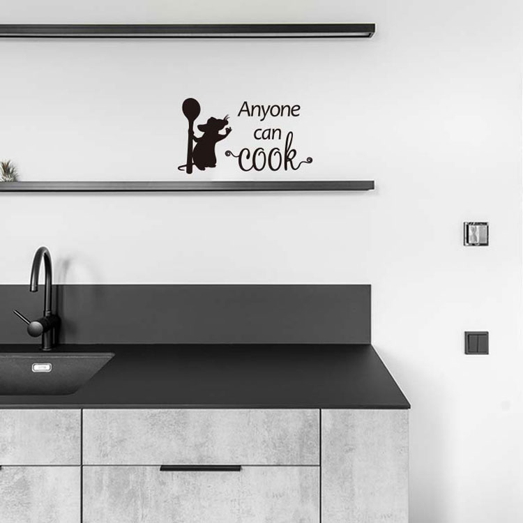 Cooking mouse Anyone can cook Wall Sticker for kitchen background home decoration Mural art Decals wallpaper removable stickers