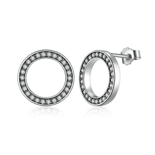Round Earrings Silver With Crystals