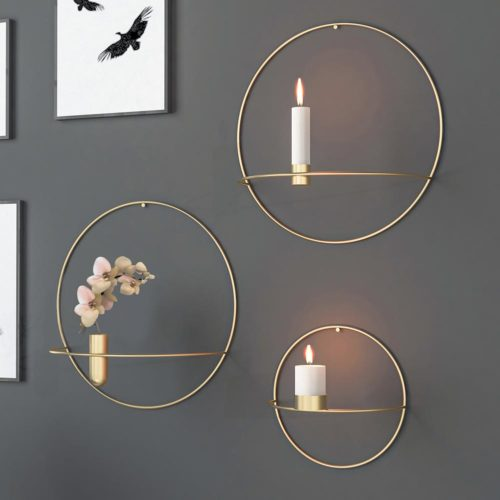 Circle Candle Holder Iron Wall Decor