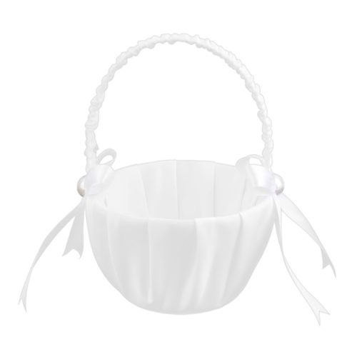 Flower Girl Basket Satin Prop