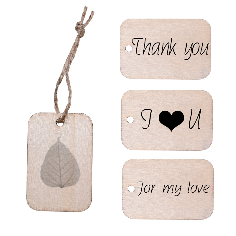 50pcs Nature Wood Gift Tags Square Shape DIY Wood Slices Gift Label Wooden Ornament for Wedding Birthday Xmas Party Decorations
