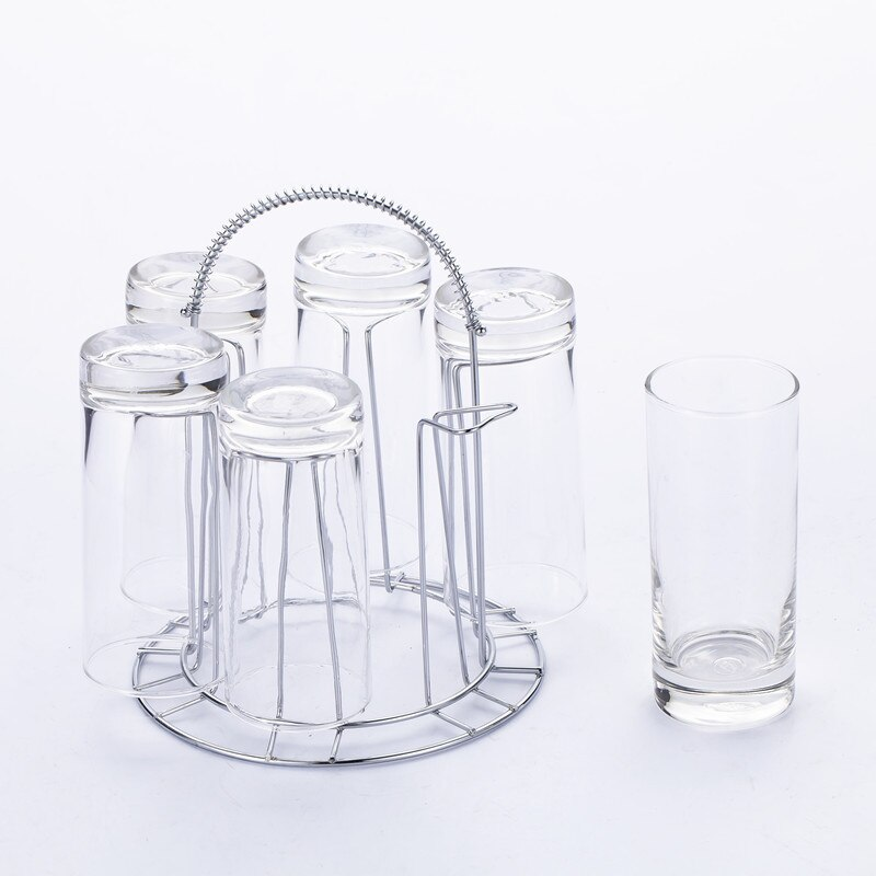 Stainless Steel 6 Cups Mug Glass Stand Holder Drying Shelf Home Kitchen Hanging Drainer Storage Rack Accessories