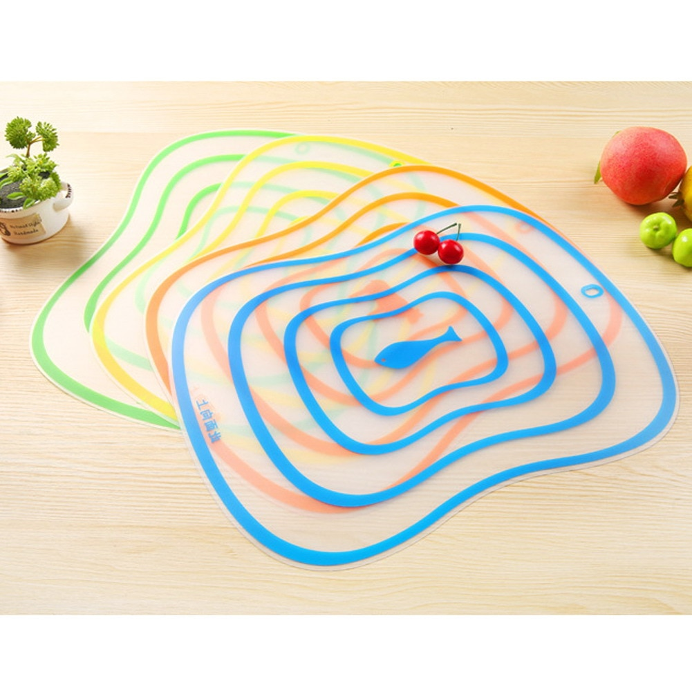4pcs Plastic Cutting Board Non-Slip Frosted Kitchen Cutting Board Vegetable Meat Tools Kitchen Accessories Chopping Board M,L