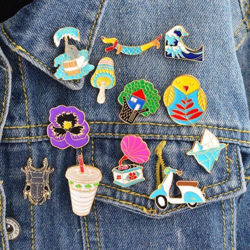 Denim Jacket Pin Cartoon Brooch