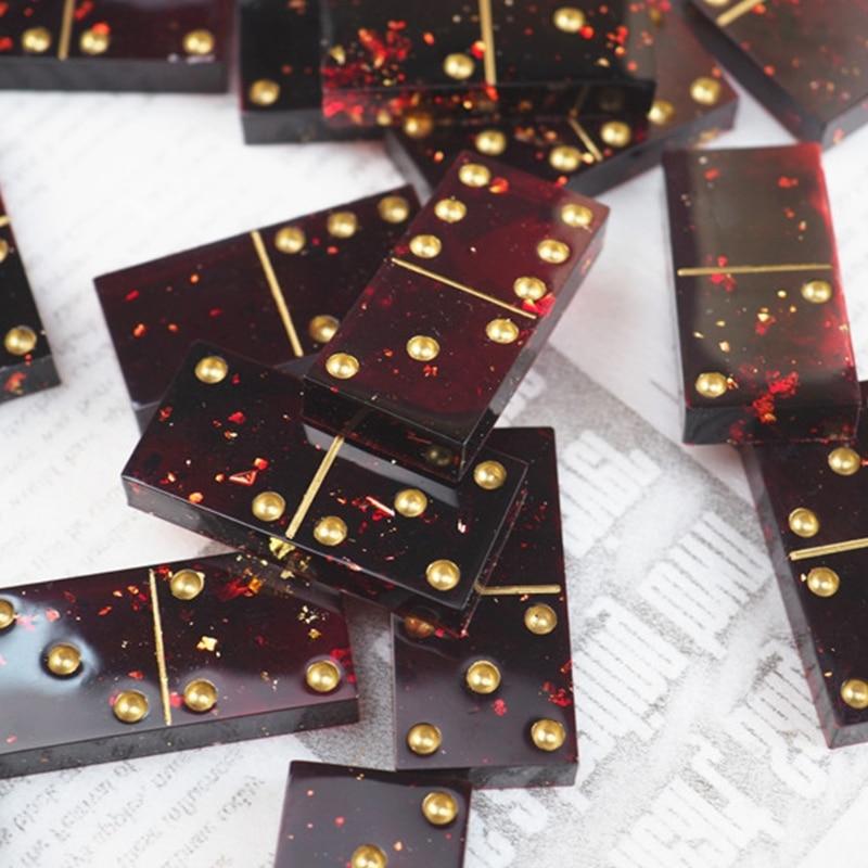 עובש משחק שרף אפוקסי קריסטל DIY ביצוע כלים להכנת דומינו יציקת עובש סיליקון