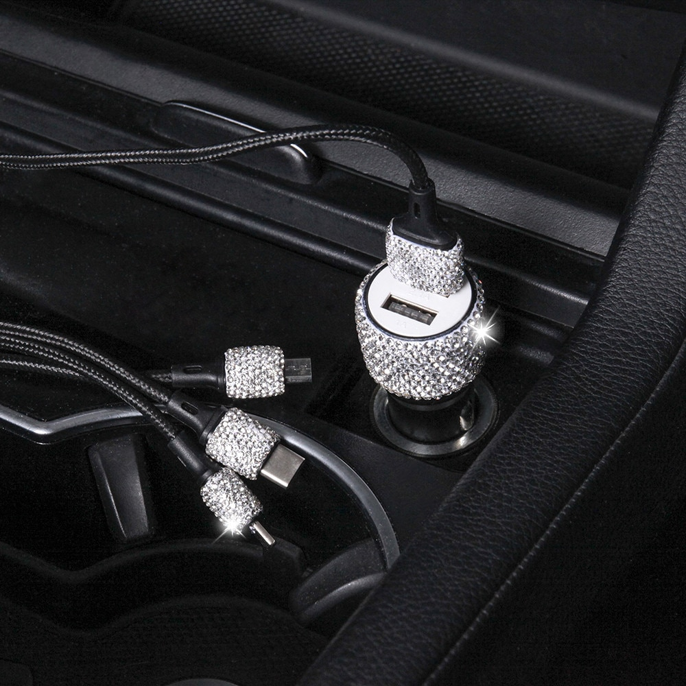 Diamond-mounted Car Phone Safety Hammer Charger Dual USB Fast-charged Diamond Car Phone Aluminum Alloy Car Charger