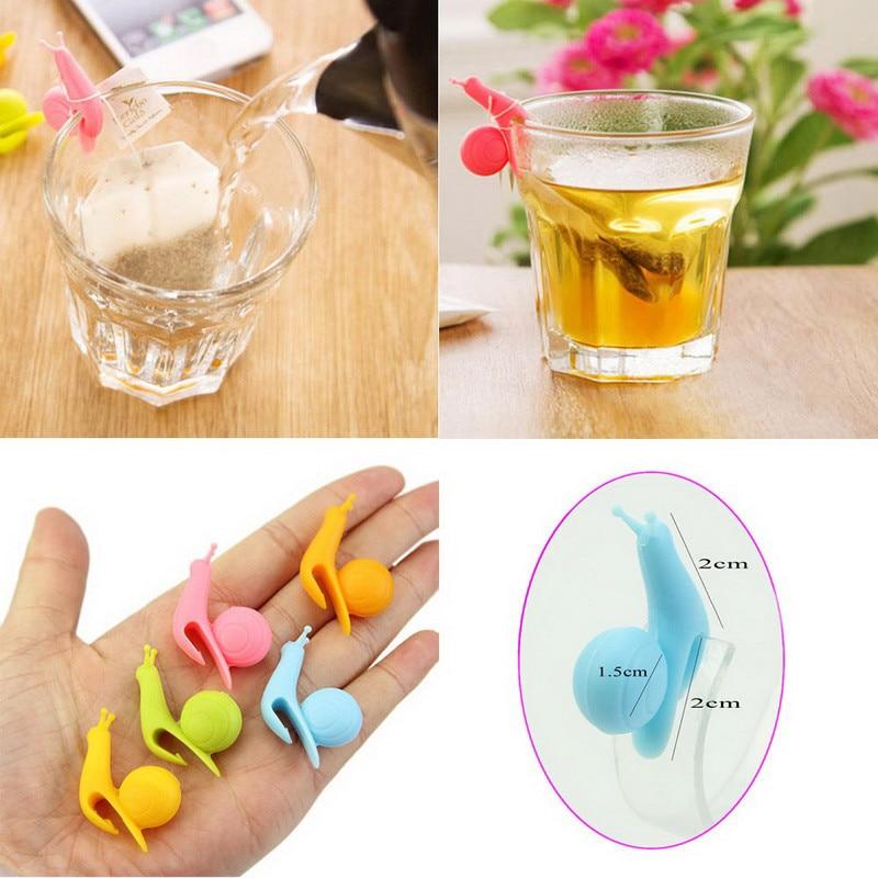 5 Pcs/Lot Mini Snail Shape Tea Bag Clip Cup Mug Tea Infusers Strainer Clips Party Decor Random Color Silicone Tea Bag Holder