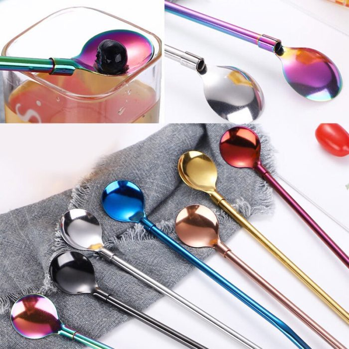 Straw Spoon Reusable Stainless Steel