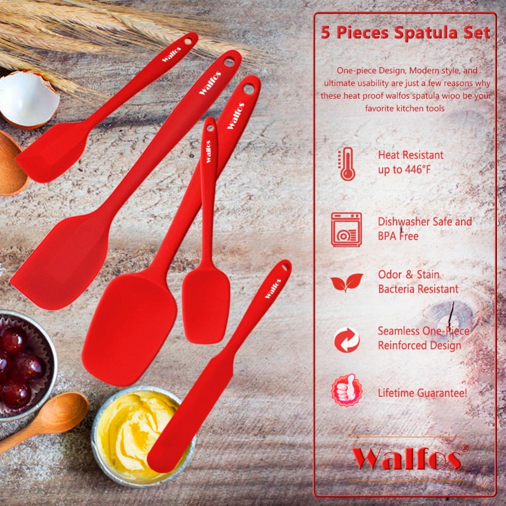 Walfos 5PCS/Set Non-Stick Silicone Spatula Baking Pastry Heat-Resistant Silicone Spatula Kitchen Utensil Cooking Tool
