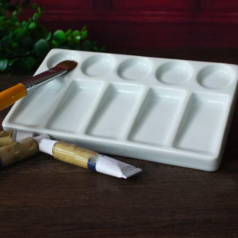 Ceramic Artist Paint Palette 10-Hole Rectangle for Watercolor Gouache