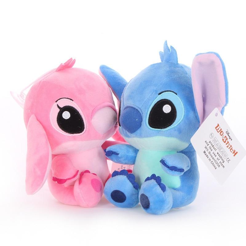 20cm Disney Lilo & Stitch Couple Models Cartoon Stuffed Plush Dolls Anime Plush Baby Toys Pendant Toys Girl Kids Birthday Gift