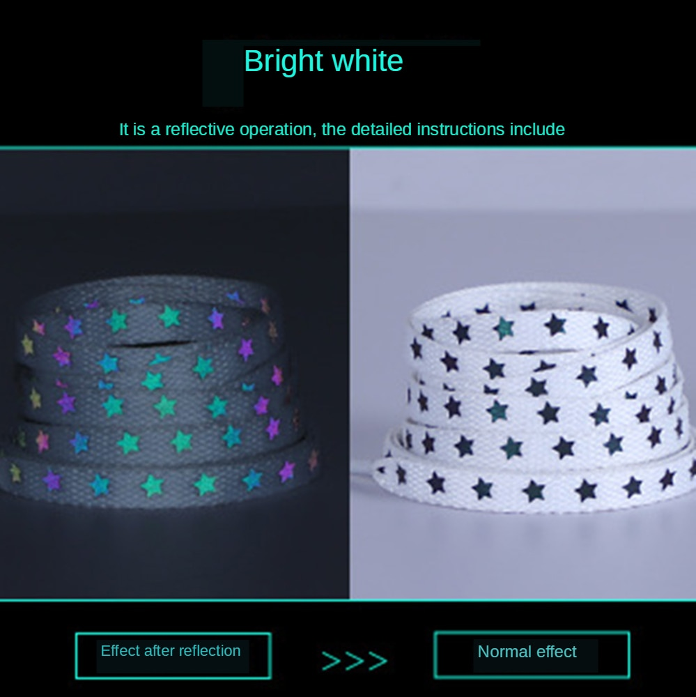 New Holographic Reflective Star Shoelaces Double-sided Reflective High-bright Reflective Flat Laces Sneakers ShoeLaces