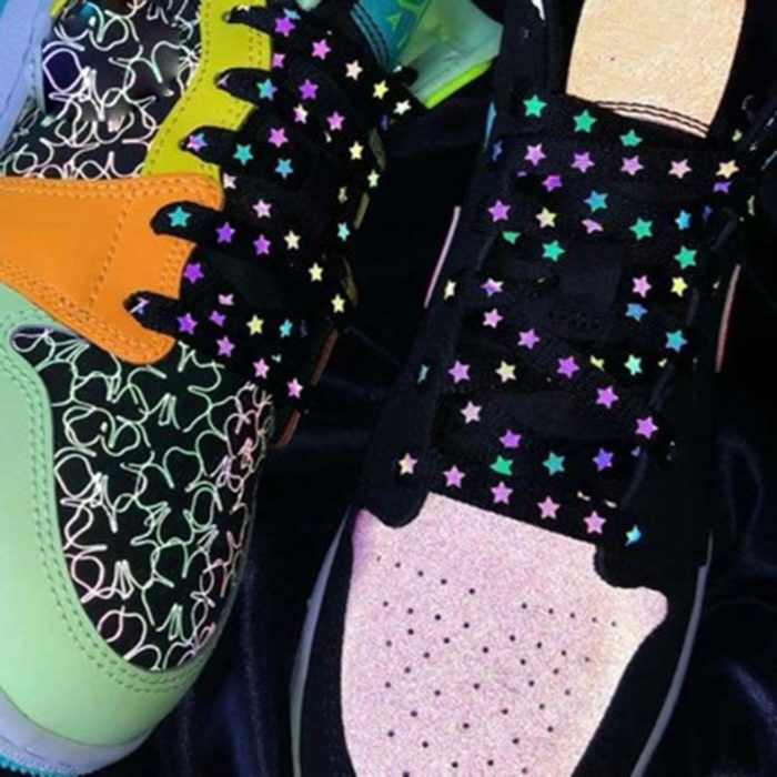 Reflective Shoelaces Holographic Star Print