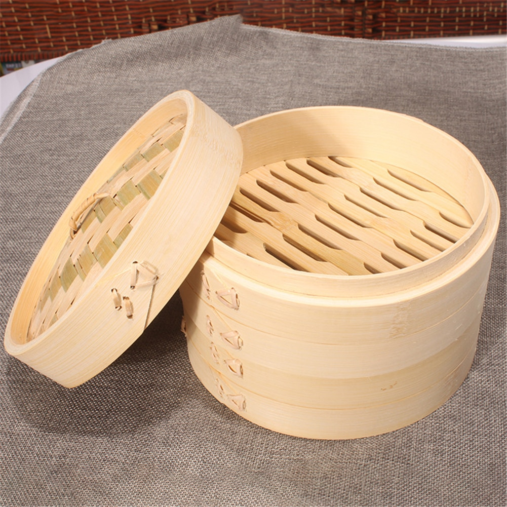 Bamboo Steamer With Cover Fish Rice Vegetable Snack Steaming Basket Kitchen Ooking Steamer Heating Cookware