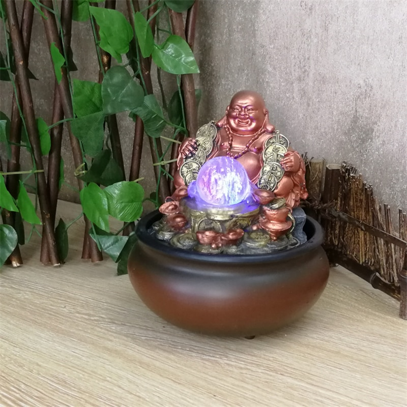Lucky Money Maitreya Buddha Home and Office Feng Shui Decoration Tabletop Ornaments LED Light Ball Indoor Water Fountain Tea Pet