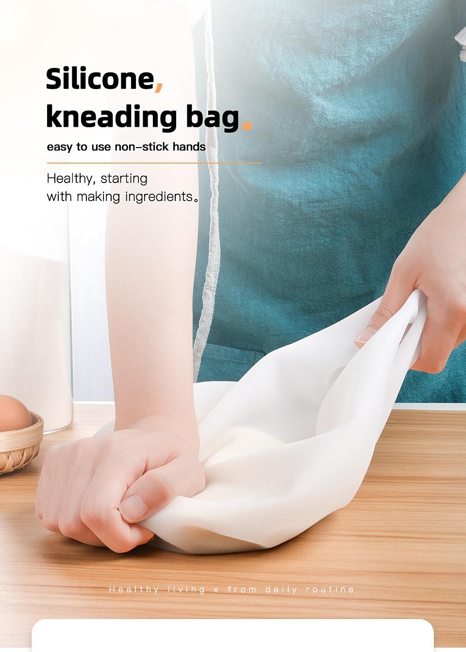 SILIKOLOVE 1.5KG Silicone Kneading Dough Bag Flour Mixer Bag Versatile Dough Mixer for Bread Pastry Pizza Kitchen Tools