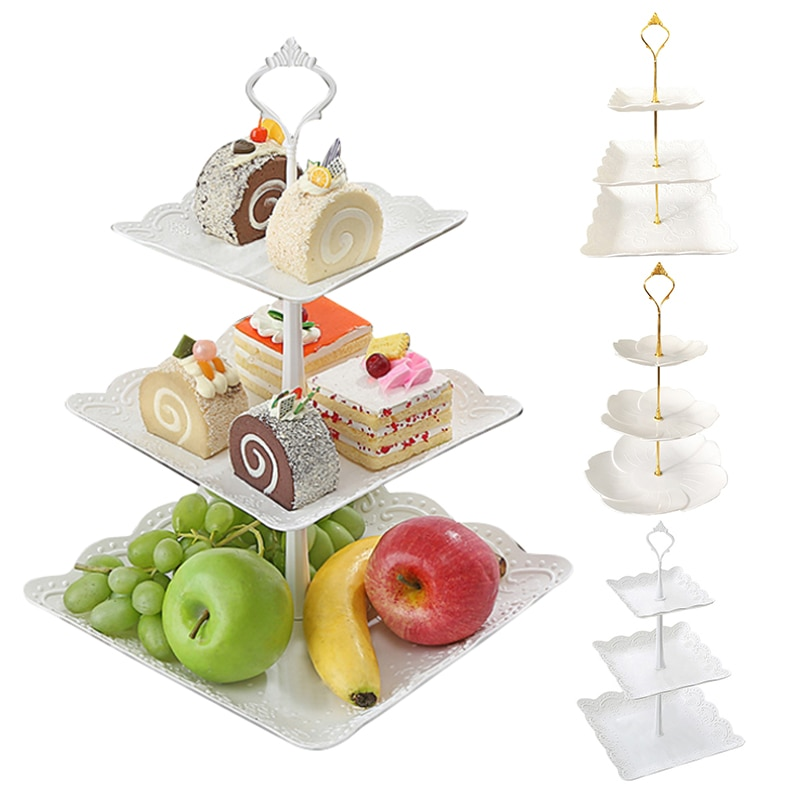 Tray 3 Tier Plastic Cake Stand Afternoon Tea Wedding Plates Party Tableware New Bakeware Cake Shop Three Layer Cake Rack Plateau
