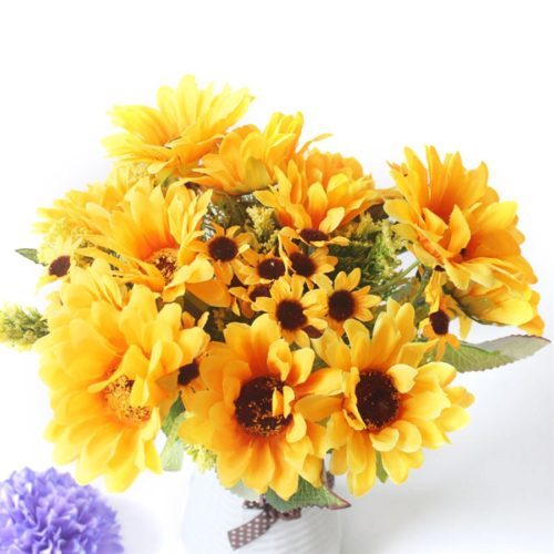Fake Sunflower Bouquet Artificial Decor