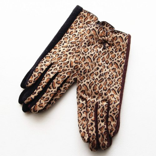 Leopard Print Gloves Wool Mittens