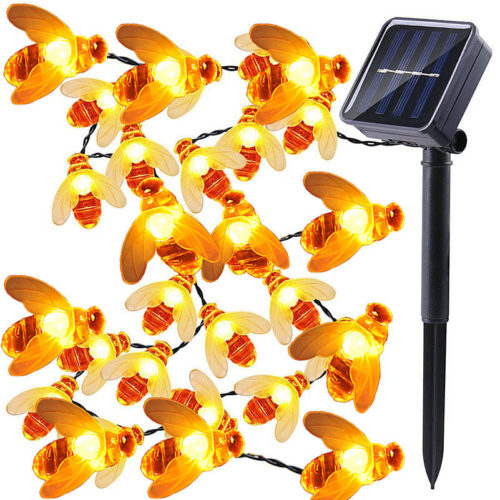 Bee Solar Lights Outdoor Decor