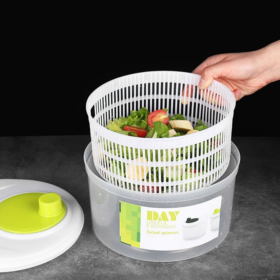 Msjo Salad Spin Dryer Vegetable Dehydrator Multifunctional Wash Vegetable Fruit Drain Dehydrator Basket Kitchen Supplies tools