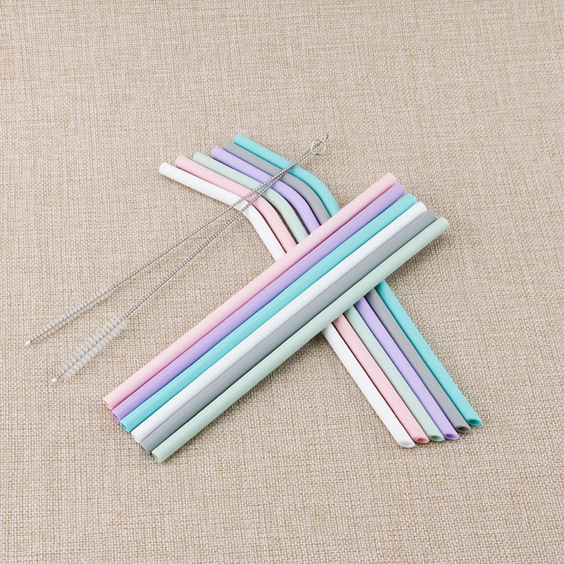 Kitchen Accessory Reusable Silicone Drinking Straws Foldable Flexible Straw with Cleaning Brushes Kids' Party Supplies Bar Tools
