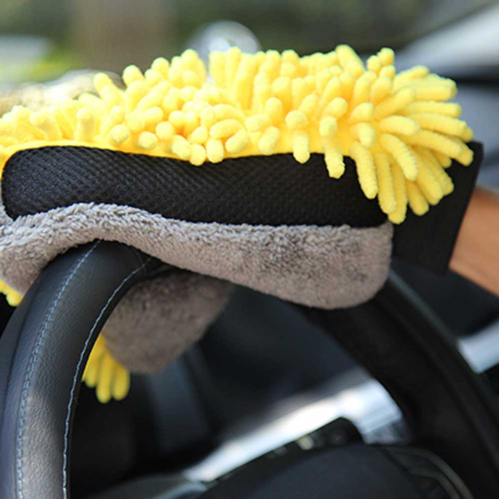 Car Wash Glove Coral Mitt Soft Anti-scratch for Car Wash Multifunction Thick Cleaning Glove Car Wax Detailing Brush Color Random