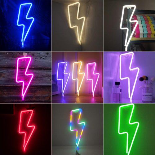 Neon Lightning Bolt LED Decor Light