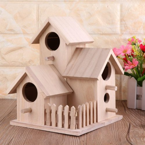 Wood Birdhouse Garden Feeding Nest