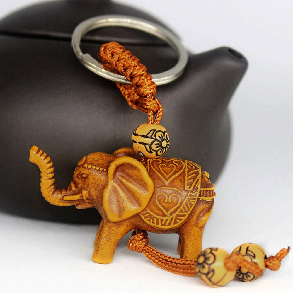 1 PCS Elephant Keychain Peach Wood Carving Unique Key Chain To Give Gifts Pom Pom Cute Keychain Stainless Steel