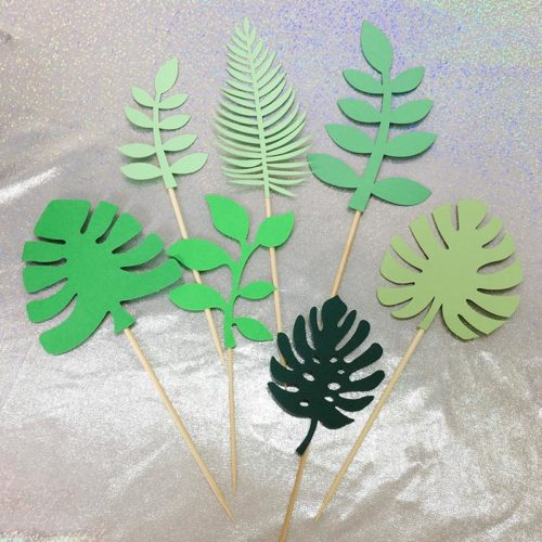 Tropical Cake Toppers Paper Decor (7pcs)
