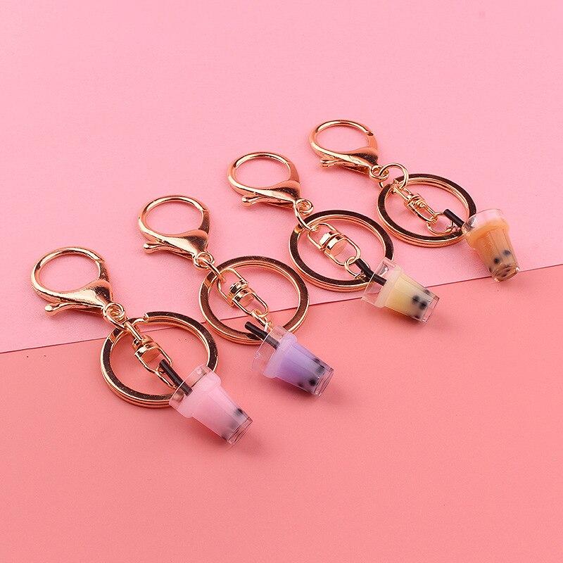 Creative Mini Soft Drink Keychain Coconut Milk tea Beverage Bubble Tea Acrylic Moving Liquid oil Drop decompression Jewelry gift