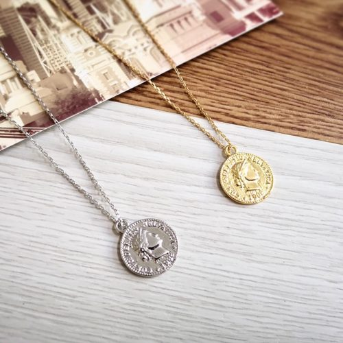 Coin Necklace Vintage Medallion Pendant