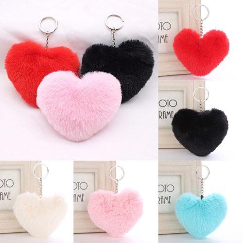 Heart Shaped Keychain Fluffy Keychain
