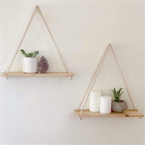 Hanging Plant Shelf Wall Wood Decor