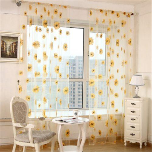 Sheer Sunflower Curtain Window Valance