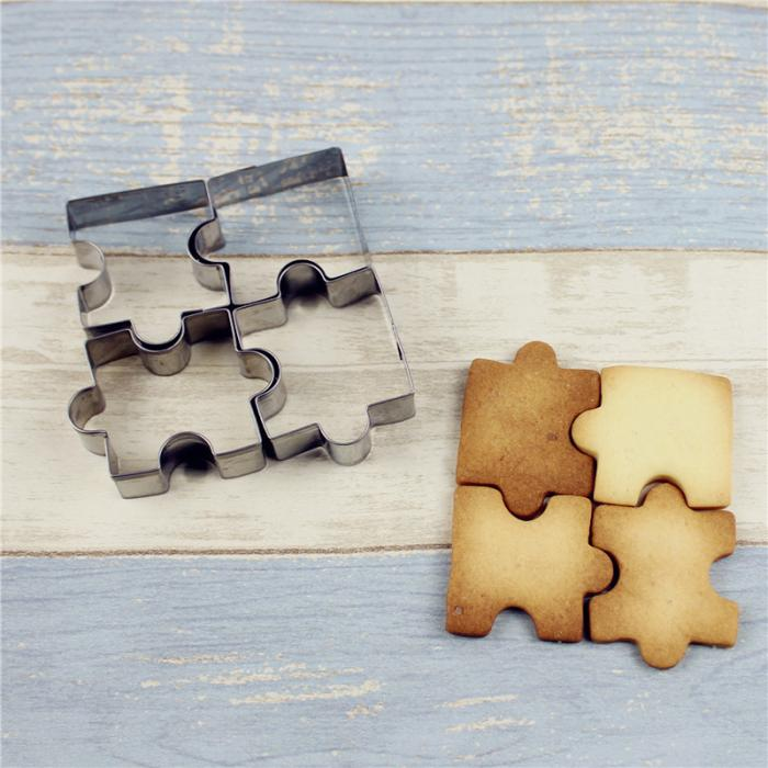 4Pcs/Set Biscuit Mould Stainless Steel Puzzle Piece Cookie Cutter Cake Frame Mold Baking Tools For Pastry Fondant Sugar DTT88