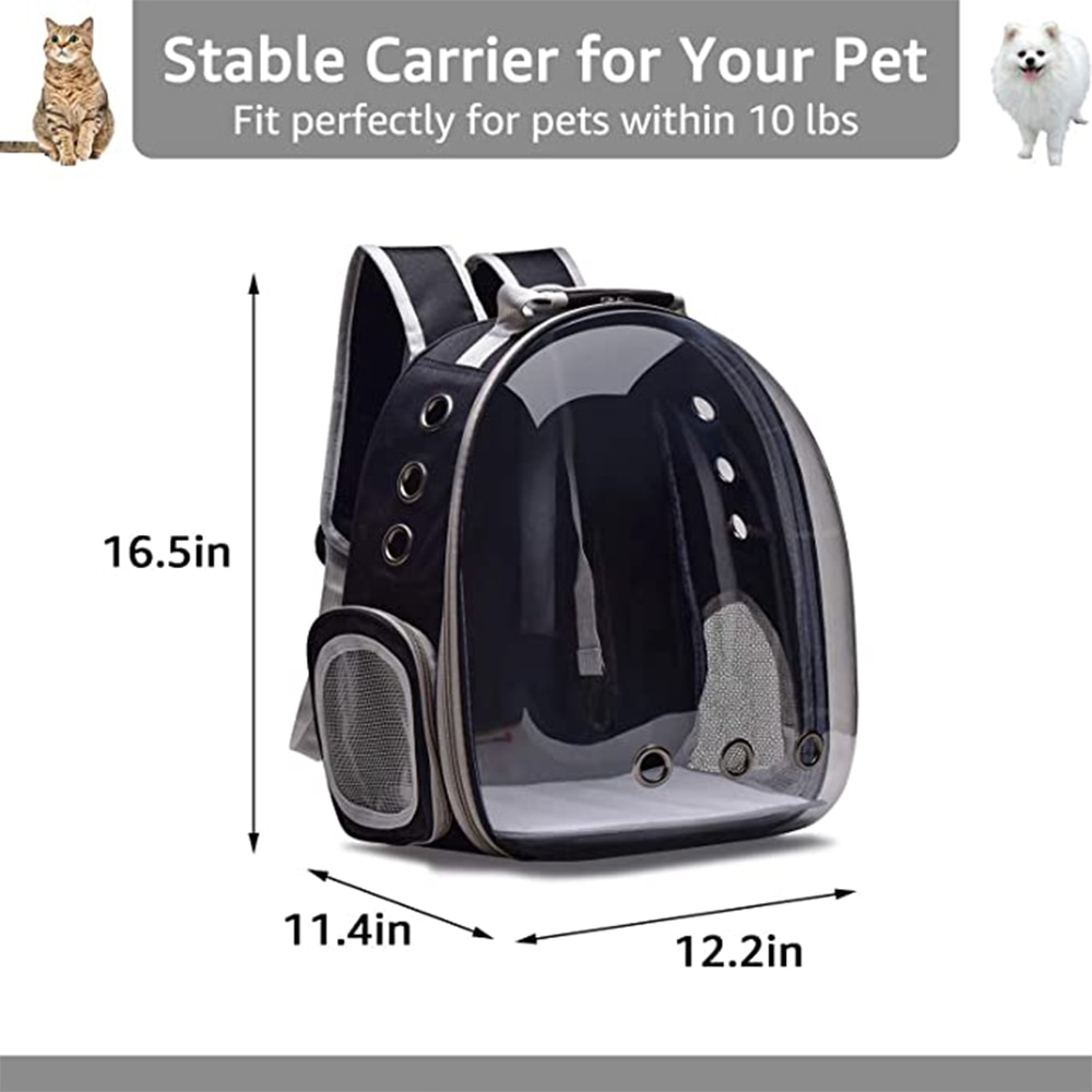 Cat Backpack Transparent Carrying Bag Breathable Pet Carriers Bag Outdoor Travel Backpack Transport for Pet Cats and Small Dogs